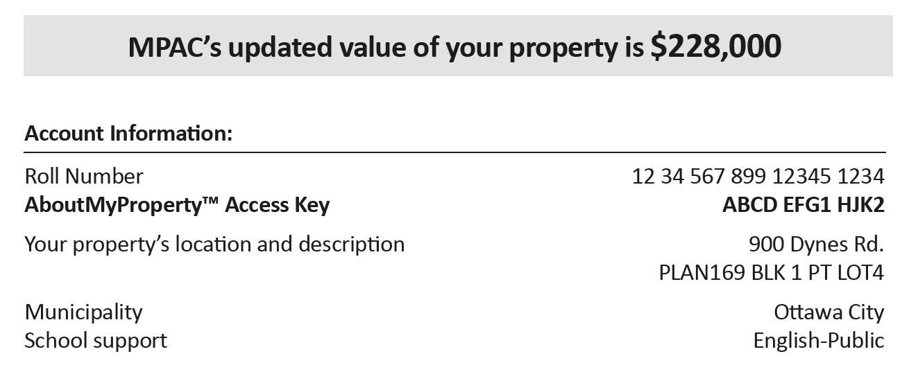See your property's assessed value as of Jan 1, 2016, with your roll number, lot location, municipality and tax class.